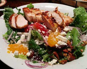 Grilled Chicken, Mandarin Orange, Spiced Pecans, Feta Cheese & Spinach Salad